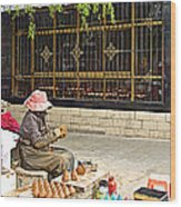 Street Shopkeeper In Lhasa-tibet Wood Print