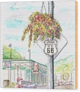 Street Sign In Route 66. Williams, Arizona Wood Print