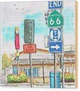Street Signs In Route 66, San Bernardino, California Wood Print