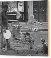 Street Vendor Wood Print by Chevy Fleet