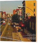 Street With Bus Stop Wood Print