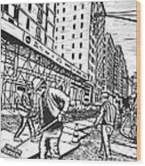 Street Work In New York Wood Print
