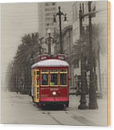 Streetcar On Canal Street - New Orleans Wood Print
