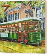 Streetcar On St.charles Avenue Wood Print
