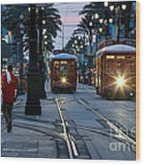 Streetcars On Canal Street Wood Print