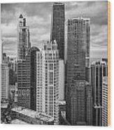 Streeterville From Above Black And White Wood Print