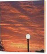 Streetlight Sunset Texas Wood Print