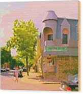 Streets Of Pointe St Charles Summer Scene Connies Pizza Rue Charlevoix Et Grand Trunk Carole Spandau Wood Print