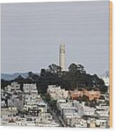 Streets Of San Francisco With Coit Tower Wood Print