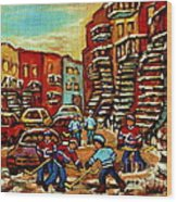 Streets Of Verdun Paintings He Shoots He Scores Our Hockey Town Forever Montreal City Scenes  Wood Print