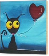 Stressie Cat And Her Love Balloon Wood Print