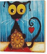 Stressie Cat And The Tick Tock Wood Print