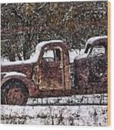 Stretch Limo In The Blizzard Wood Print