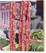 String Of Handmade Sausages Wood Print