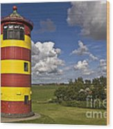 Striped Lighthouse Wood Print