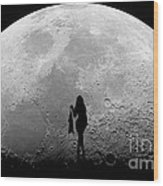 Stripper On The Moon Wood Print