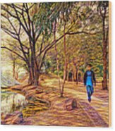 Stroll In The Park. Wood Print
