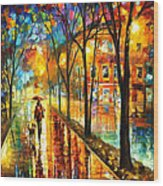 Stroll With My Best Friend - Palette Knife Oil Painting On Canvas By Leonid Afremov Wood Print