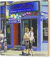 Strolling By The Blue Boy Frozen Yogurt Glacee Cafe Plateau Mont Royal City Scene Carole Spandau   Wood Print