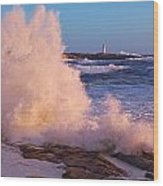 Strong Winds Blow Waves Onto Rocks Wood Print