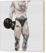 Circus Strongman Wood Print