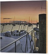 Stuart Marina At Sunset Wood Print