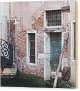 Stucco And Brick Canalside Building Venice Italy Wood Print