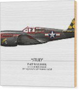 Stud P-40 Warhawk - White Background Wood Print