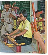 Students Playing Traditional Thai Instruments In Music Class At  Baan Konn Soong School In Sukhothai Wood Print