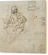 Studies For A Virgin And Child And Of Heads In Profile And Machines, C.1478-80 Pencil And Ink Wood Print