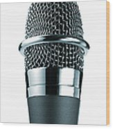 Studio Shot Of Microphone On White Wood Print