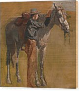 Study For Cowboys In The Badlands Wood Print