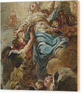 Study For The Assumption Of The Virgin Wood Print by Jean Baptiste Deshays de Colleville