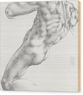 Study For The Male Nude At Right Above The Persian Sibyl After Michelangelo Buonarotti Wood Print