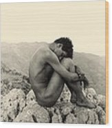 Study Of A Male Nude On A Rock In Taormina Sicily Wood Print