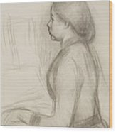 Study Of A Young Girl At The Piano Wood Print