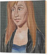 Study Of A Young Woman In A Black Sweater Wood Print