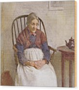 Study Of An Elderly Lady Wood Print