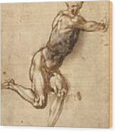 Study Of Figure To Battle Of Cascina Wood Print
