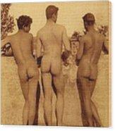 Study Of Three Male Nudes Wood Print