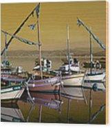 Stunning Fishing Port Wood Print