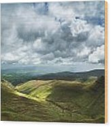 Stunning Large Panorama Landscape Of Brecon Beacons View From Pe Wood Print