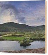 Stunning Sunrise Panorama Landscape Of Heather With Mountain Lak Wood Print