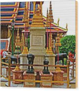 Stupa Surrounded By Elephants At Grand Palace Of Thailand In Ban Wood Print
