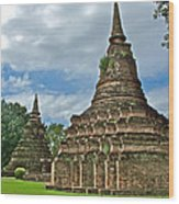 Stupas Of Wat Mahathat In 13th Century Sukhothai Historical Park-thailand Wood Print