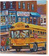 St.viateur Bagel And School Bus Montreal Urban City Scene Wood Print