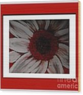 Stylized Daisy With Red Border Wood Print