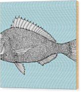 Stylized Fish. Sea Fish. Dorado. Black Wood Print