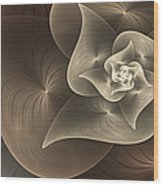Stylized Philodendron Sepia Wood Print