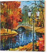 Sublime Park - Palette Knife Oil Painting On Canvas By Leonid Afremov Wood Print